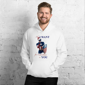Christmas with Captain America in a Unisex Hoodie