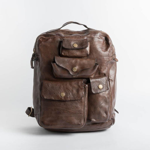 CAMPOMAGGI -C017840 - Backpack - Cognac and Dark Brown Men's Accessories CAMPOMAGGI - Dark Brown Men's Collection