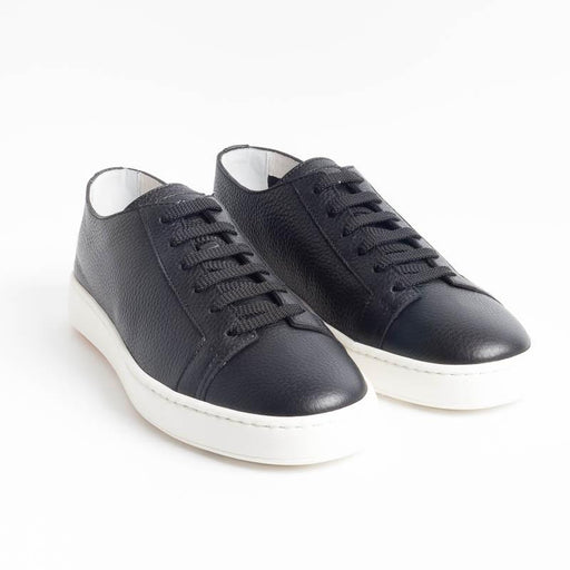 SANTONI CLEANICON - Sneakers - 14387 - Black Leather Santoni Men's Shoes - Men's Collection