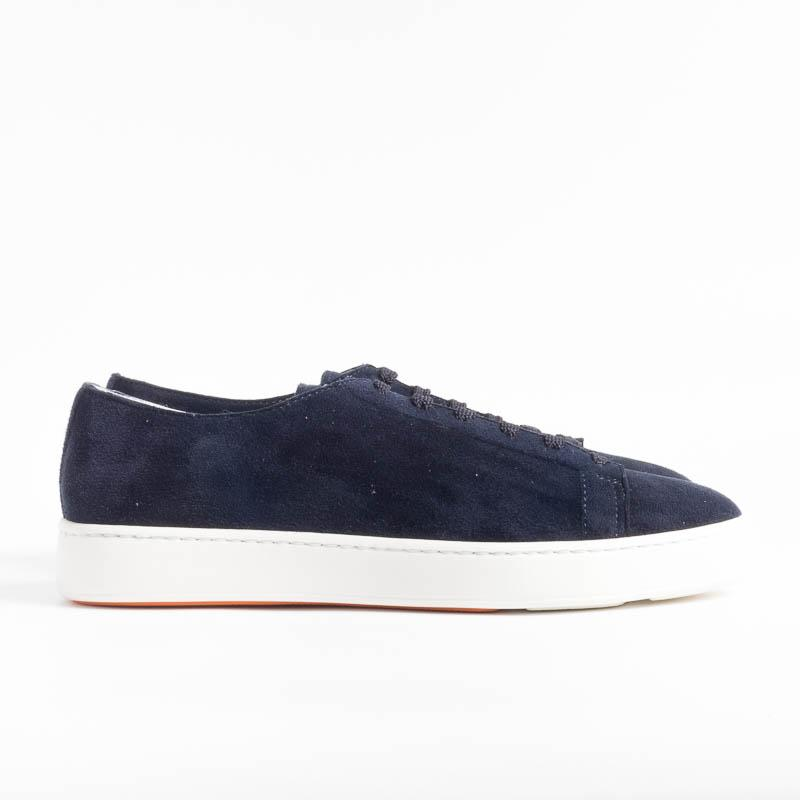 SANTONI CLEANICON - Sneakers - 14387 - Blue Suede Santoni Men's Shoes - Men's Collection