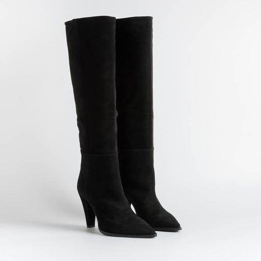 ANNA F - Boots - 9843 - Velor - Black Women's Shoes Anna F.