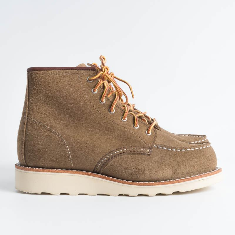 RED WING - 3377 Moc Toe Olive Suede Women's Shoes Red Wing Shoes