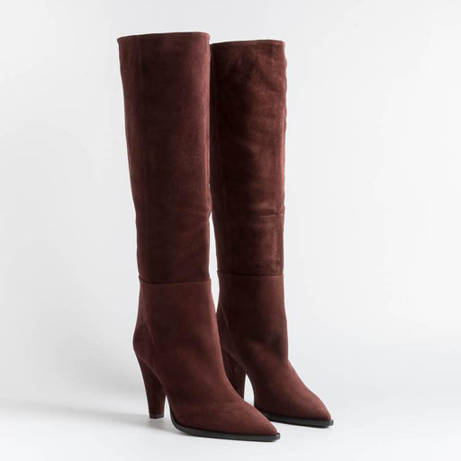 ANNA F - Boots - 9843 - Velor - Burgundy Women's Shoes Anna F.