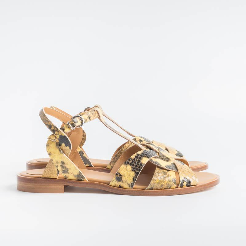 ANNA F. - Sandal - 3012 - Yellow Python Women's Shoes Anna F.