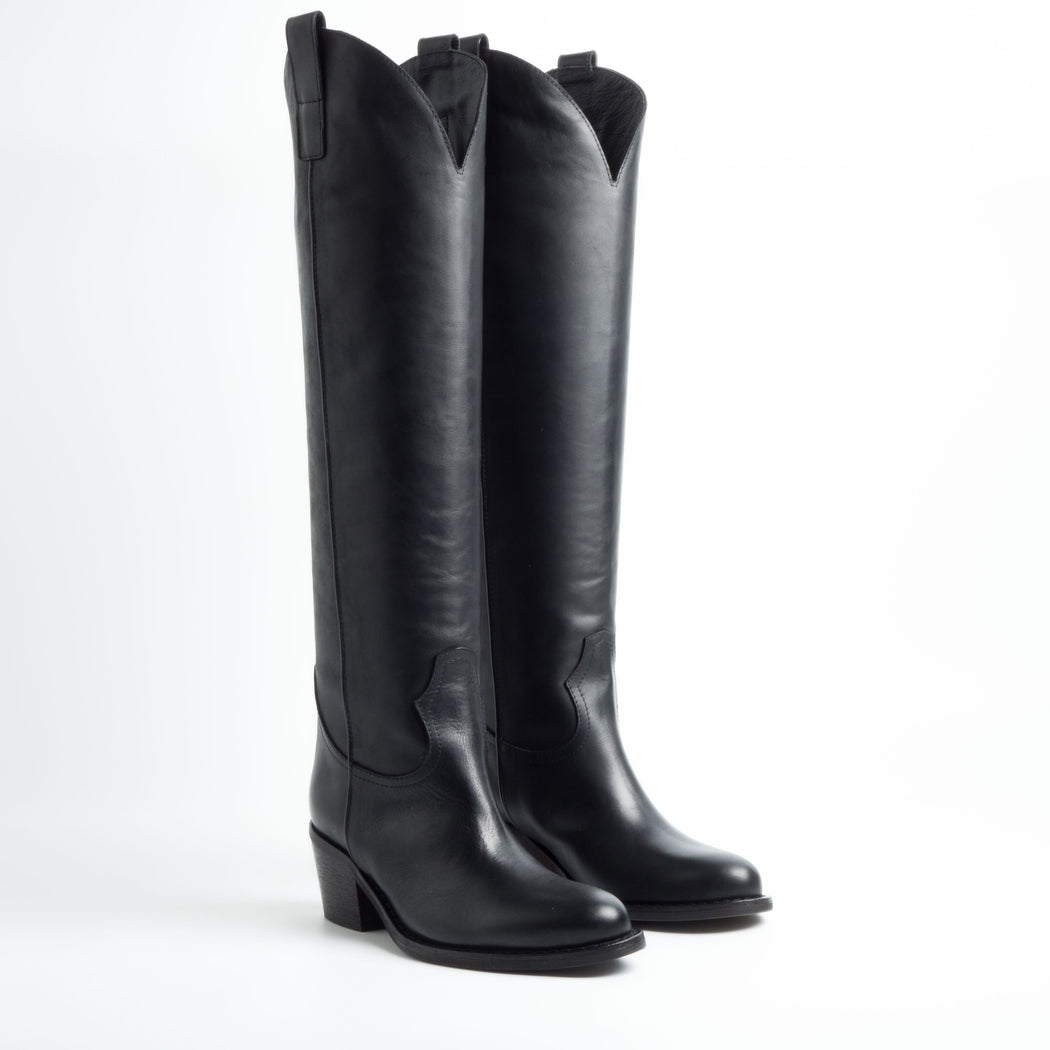 VIA ROMA 15 - FW 18/19 - 3115 - High Texan Boots - Malibù Black Women's Shoes Via Roma 15