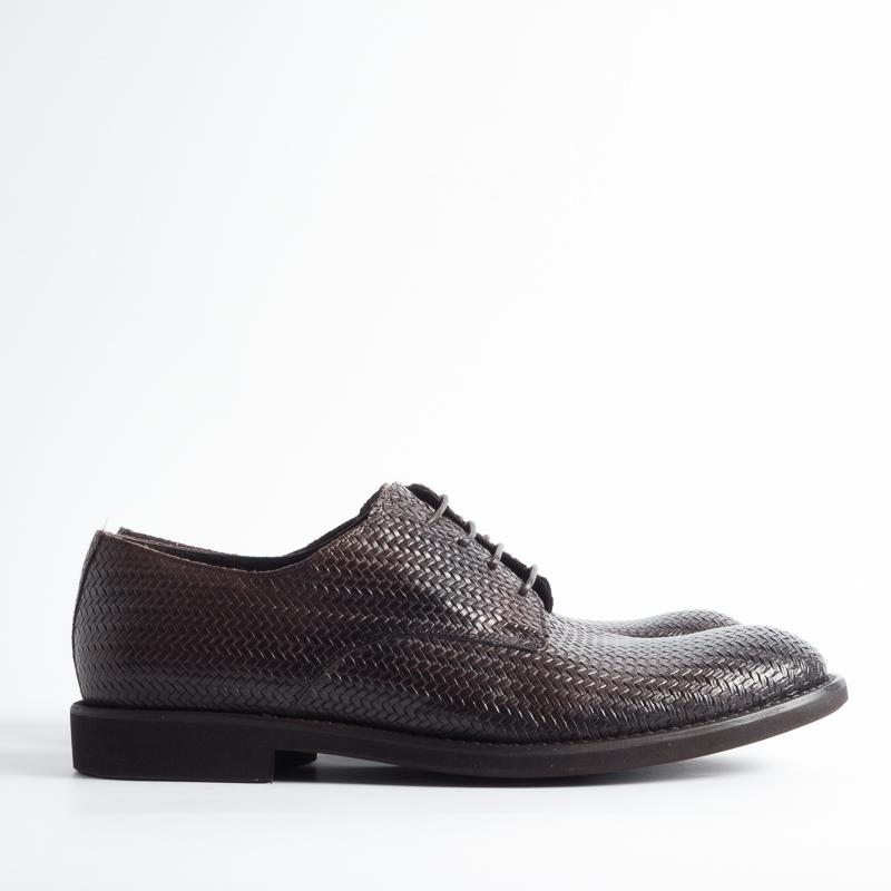 SEBOY'S - SS 2019 - Derby in woven leather - 3325 - Dark Brown Shoes Man SEBOY'S