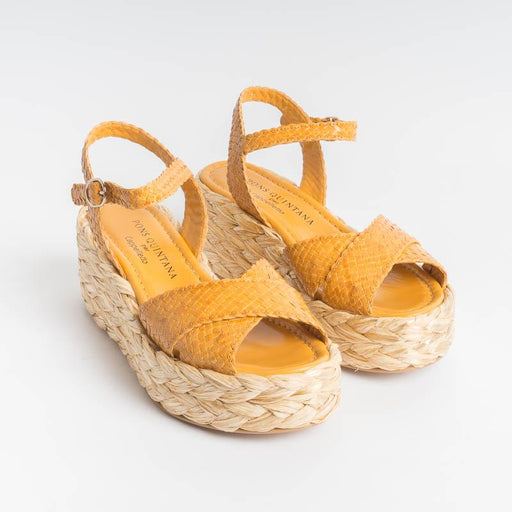 PONS QUINTANA - ERIKA 8745 Sandals - Yellow Mostaza Women's Shoes PONS QUINTANA
