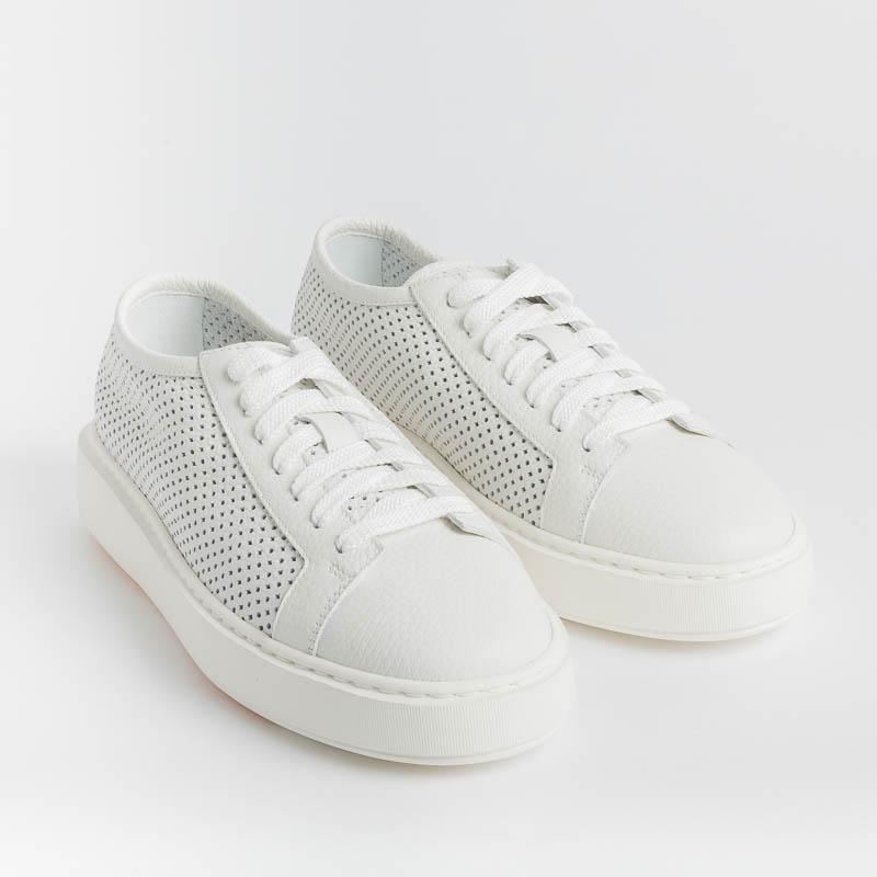 SANTONI CLEANICON - 60791 I50 - CleanIcon Sneakers - White Perforated Woman Shoes Santoni - Woman Collection