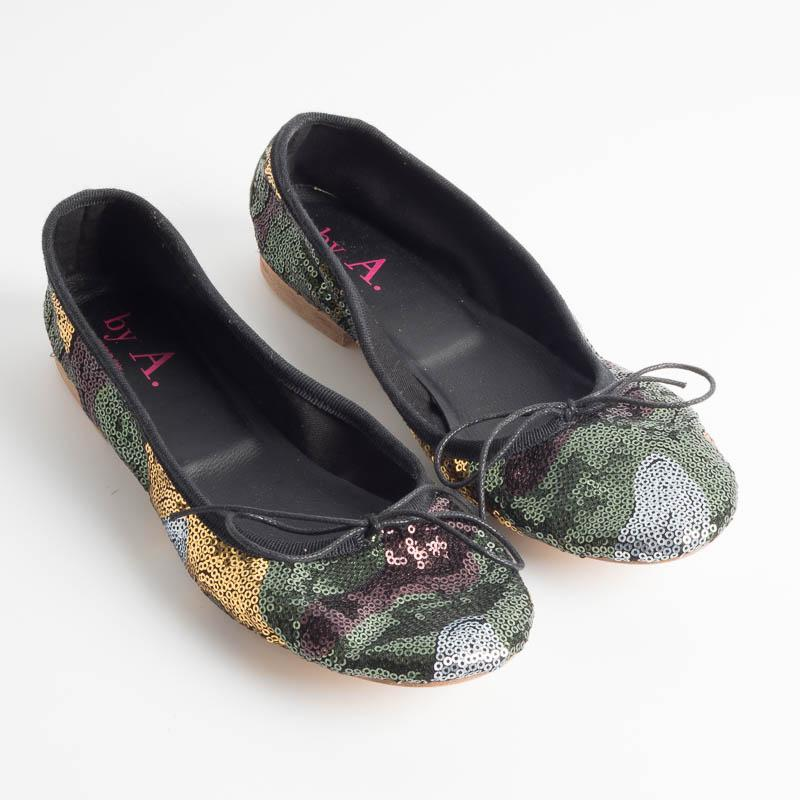 BY A. - 4111 Ballerina - Sequins Military Woman Shoes BY A