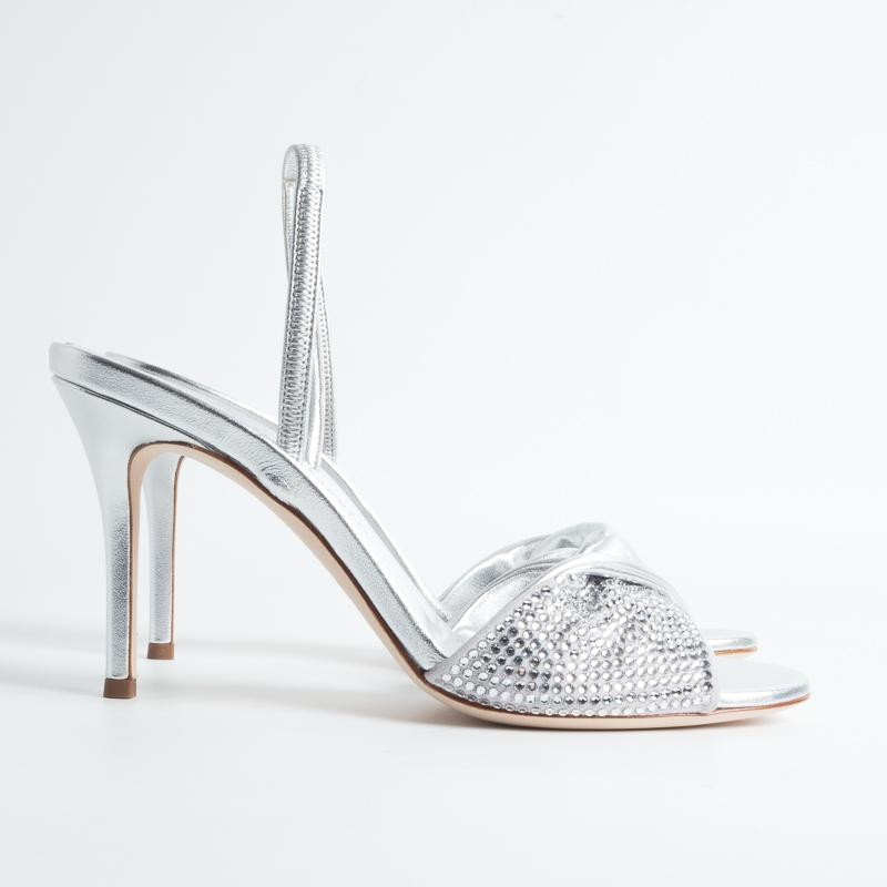 Zanotti - SS 2019 - Sandal - E900053 - Leather and Swarovski - Silver Women's Shoes GIUSEPPE ZANOTTI