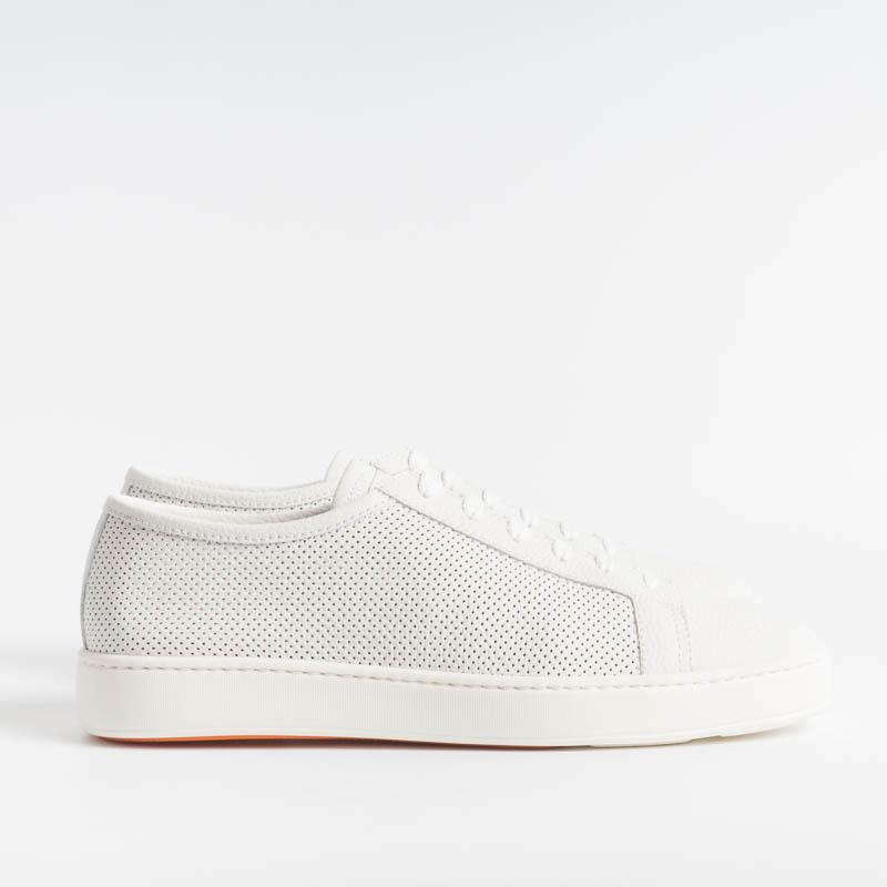 SANTONI CLEANICON - Sneakers - 20440 - White perforated leather Men's Santoni Shoes - Men's Collection