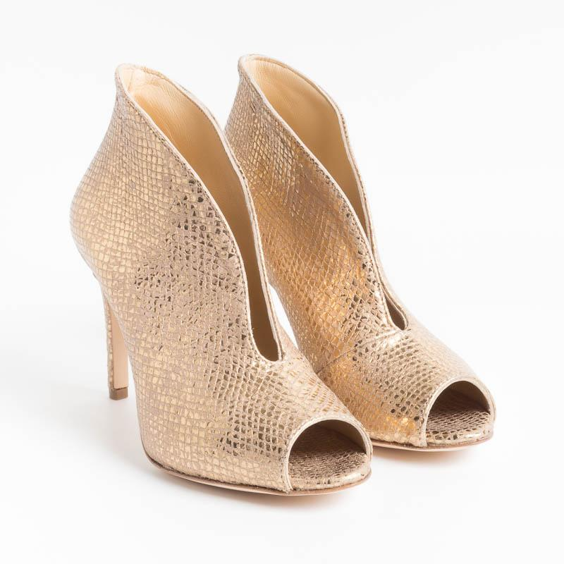 L'ARIANNA - Ankle Boots SP8004 - Gold Lamin Snake Shoes Woman L'Arianna