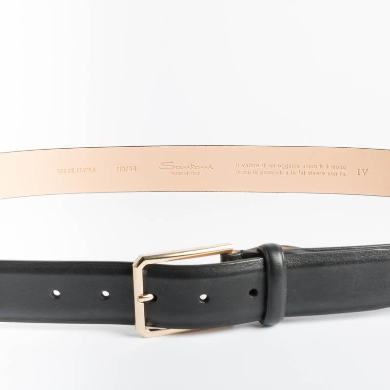SANTONI - Belt - Black Gold Men's Accessories SANTONI