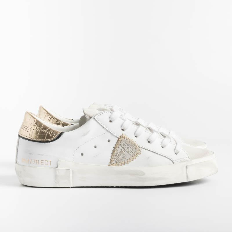PHILIPPE MODEL - PRLD VC01 - ParisX - Crocco Blanc Or Women's Shoes Philippe Model Paris