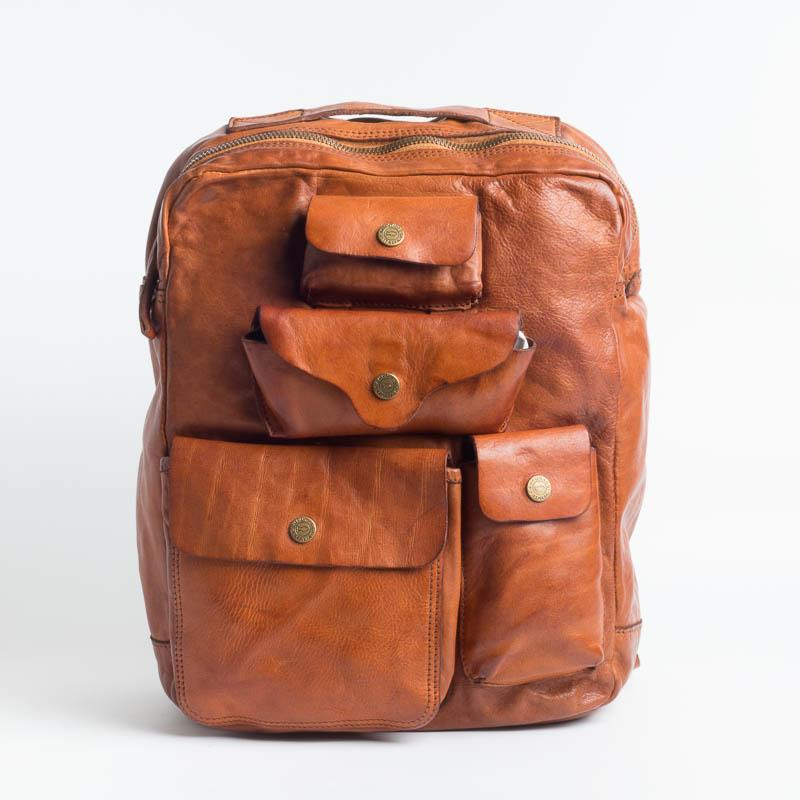 CAMPOMAGGI -C017840 - Backpack - Gray and Cognac Man Accessories CAMPOMAGGI - Man Cognac Collection