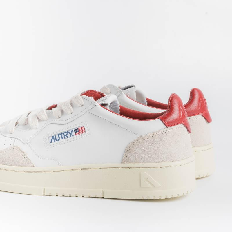 AUTRY LS38 - LOW MAN ALL LEAT / SUEDE - WHITE / Red Men's Shoes AUTRY - Men's collection