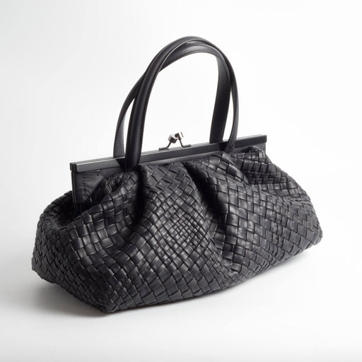 FALORNI - AI 2018/19 - F2245 - Grey - Borsa a mano - Pelle intrecciata - Made in Italy - Cappelletto Shop