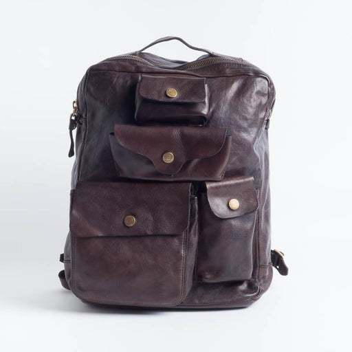 CAMPOMAGGI -C017840 - Backpack - Gray and Cognac Accessories Men Campomaggi Gray (Dark Brown)