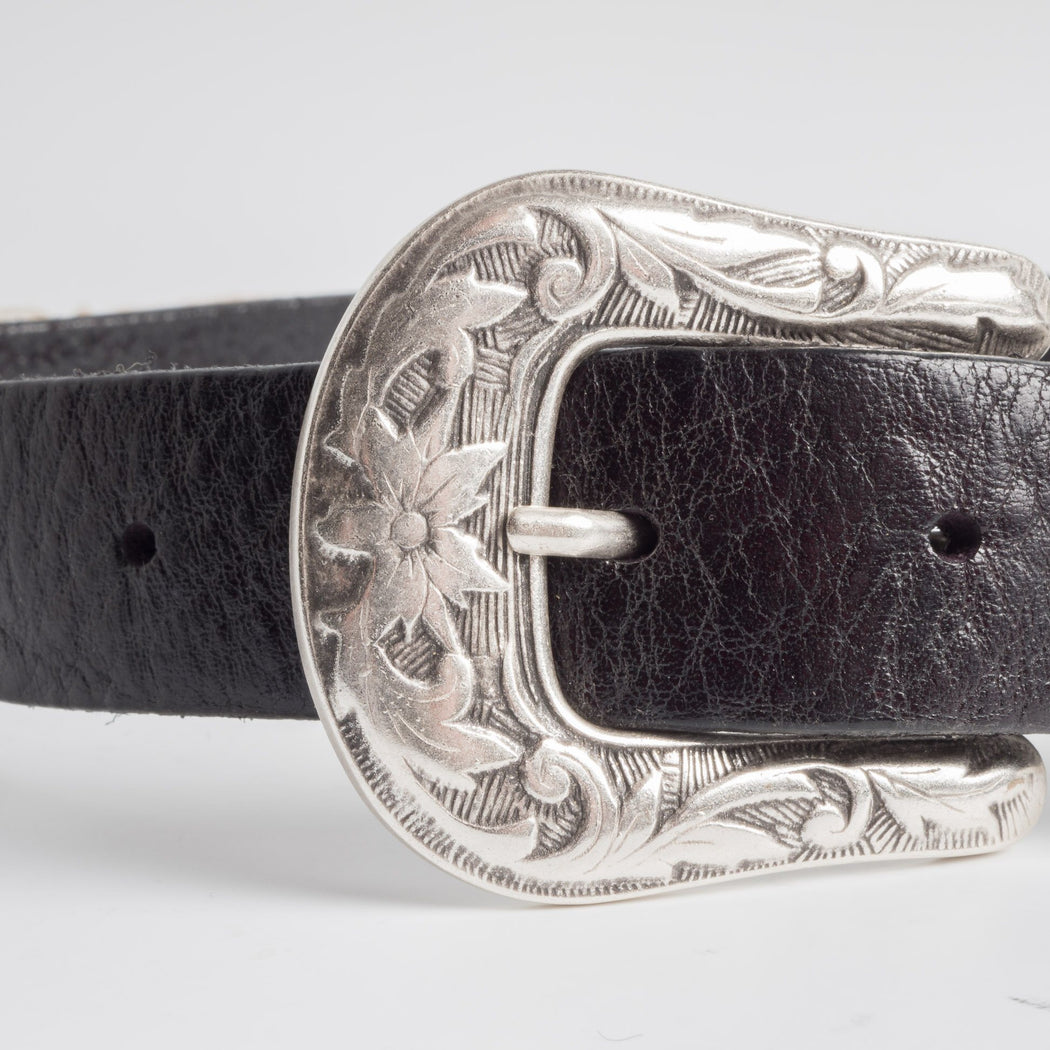 68 | 78 - SS 2019 - Belt with worked buckle - 90 cm. - Black Man Accessories 68 | 78
