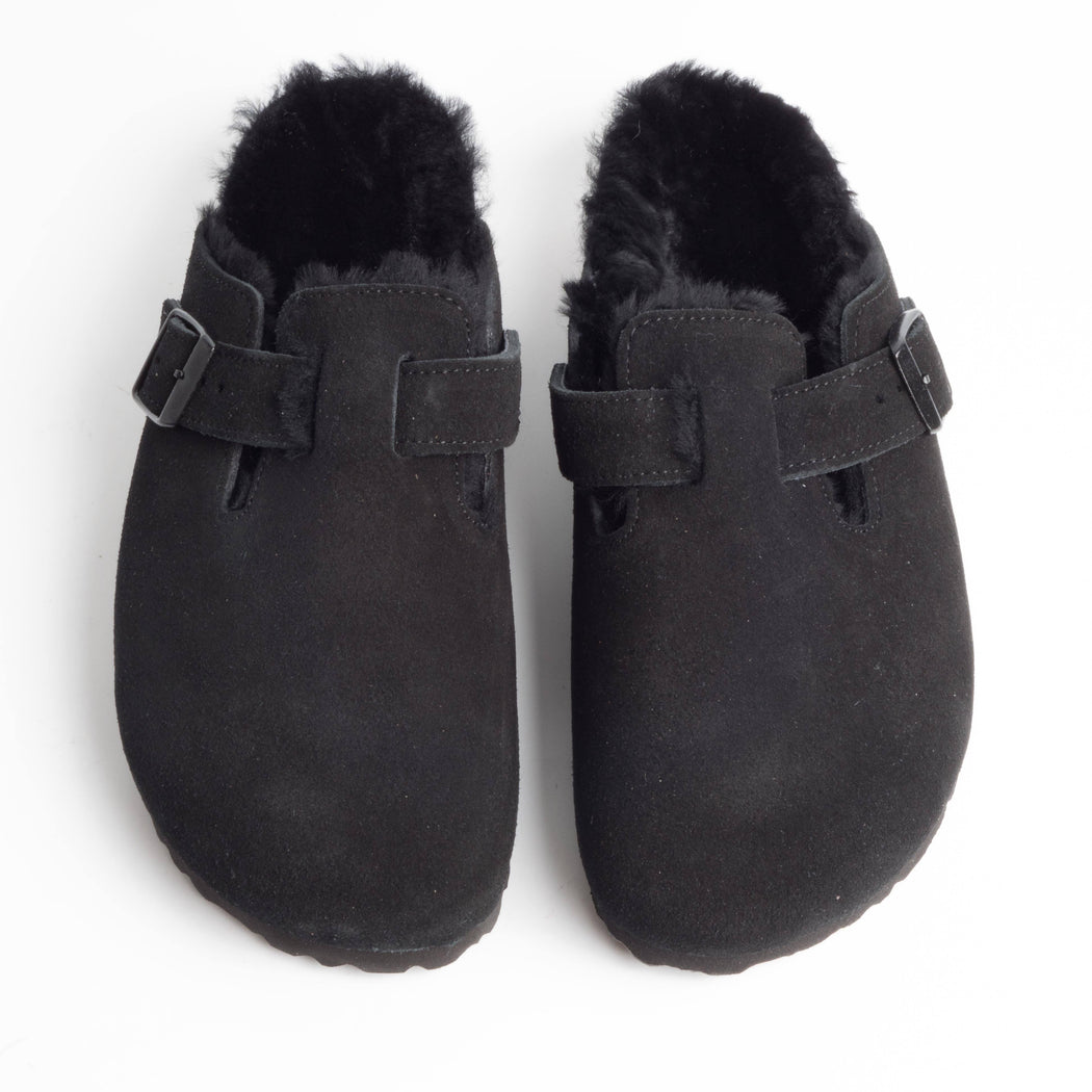 BIRKENSTOCK - 259883 - BOSTON FUR - Black Women's Shoes BIRKENSTOCK