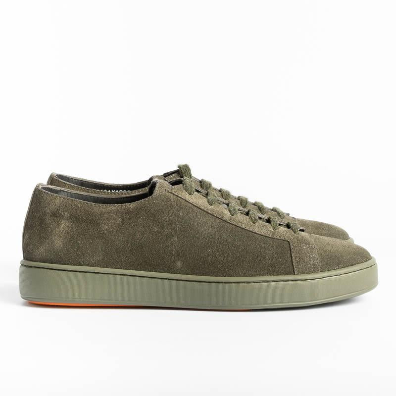 SANTONI CLEANICON - Sneakers - V55 - Green Suede Santoni Men's Shoes - Men's Collection