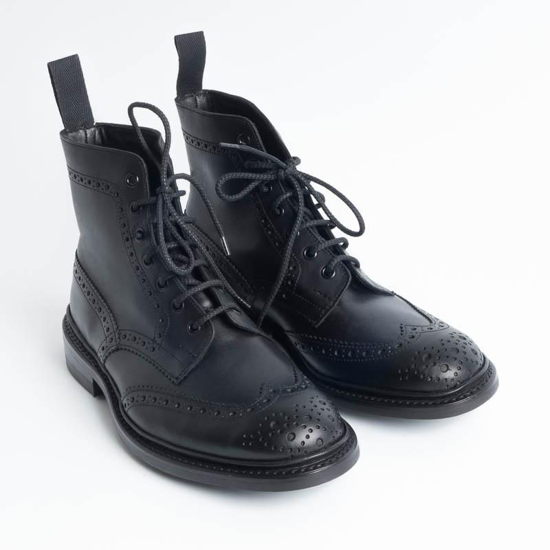 TRICKER'S - Continuative Brogue Boot - Stow Black oily calf Tricker's Men's Shoes