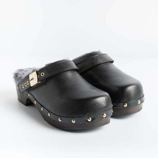 Scholl Iconic - Pescura Clogs - Black Leather Shoes Woman SCHOLL ICONIC