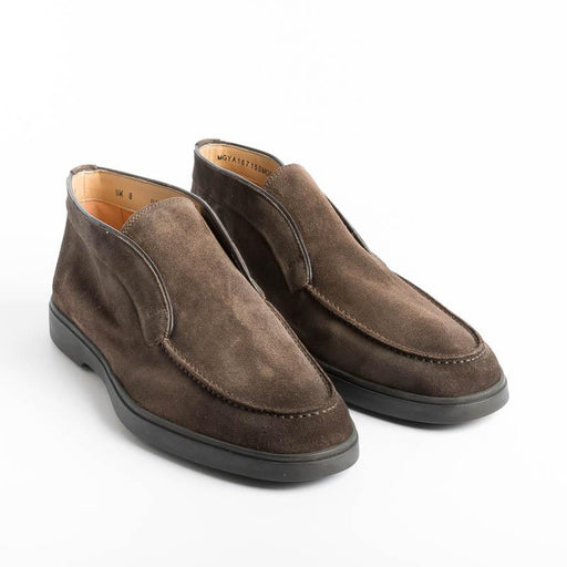 SANTONI YALTA - Ankle boots - T55 - Dark Brown Suede Men's Shoes Santoni - Men's Collection