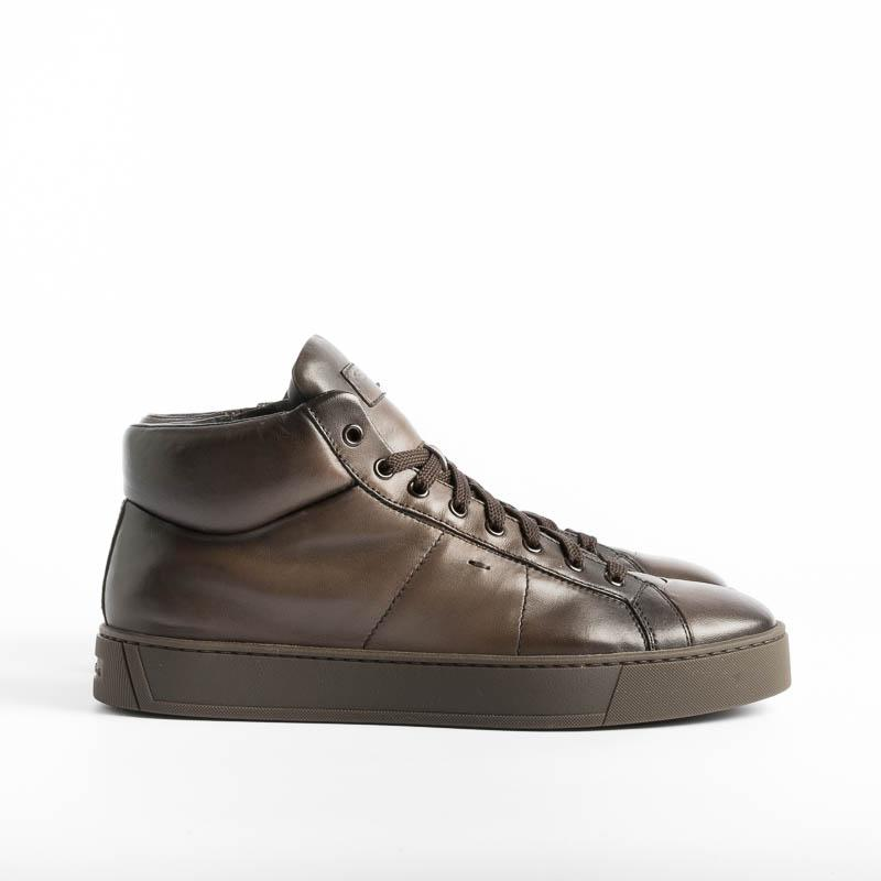 SANTONI GLORIA - Sneakers - T60 - Dark Brown Leather Santoni Men's Shoes - Men's Collection