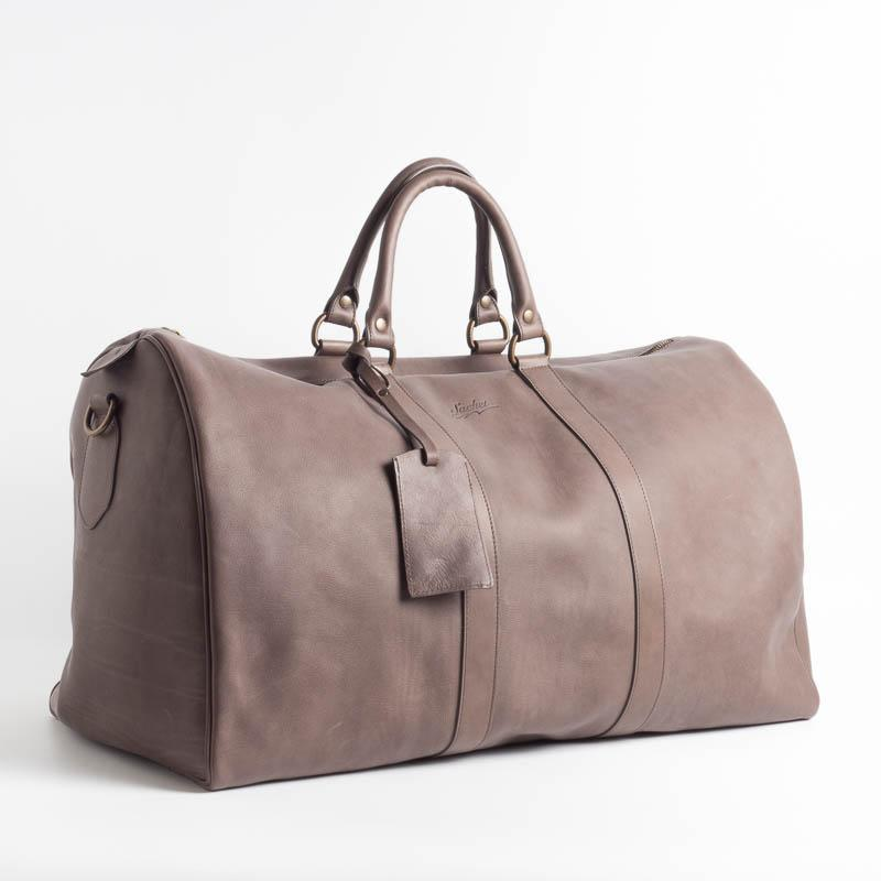 SACHET - Travel Bag - Leather - Various Colors Bags SACHET GRAY / BROWN SMOOTH LEATHER