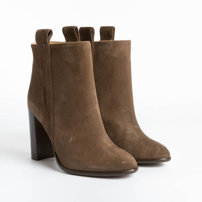 ANNA F - Ankle boots - 9646 - Velor Caffé Women's Shoes Anna F.