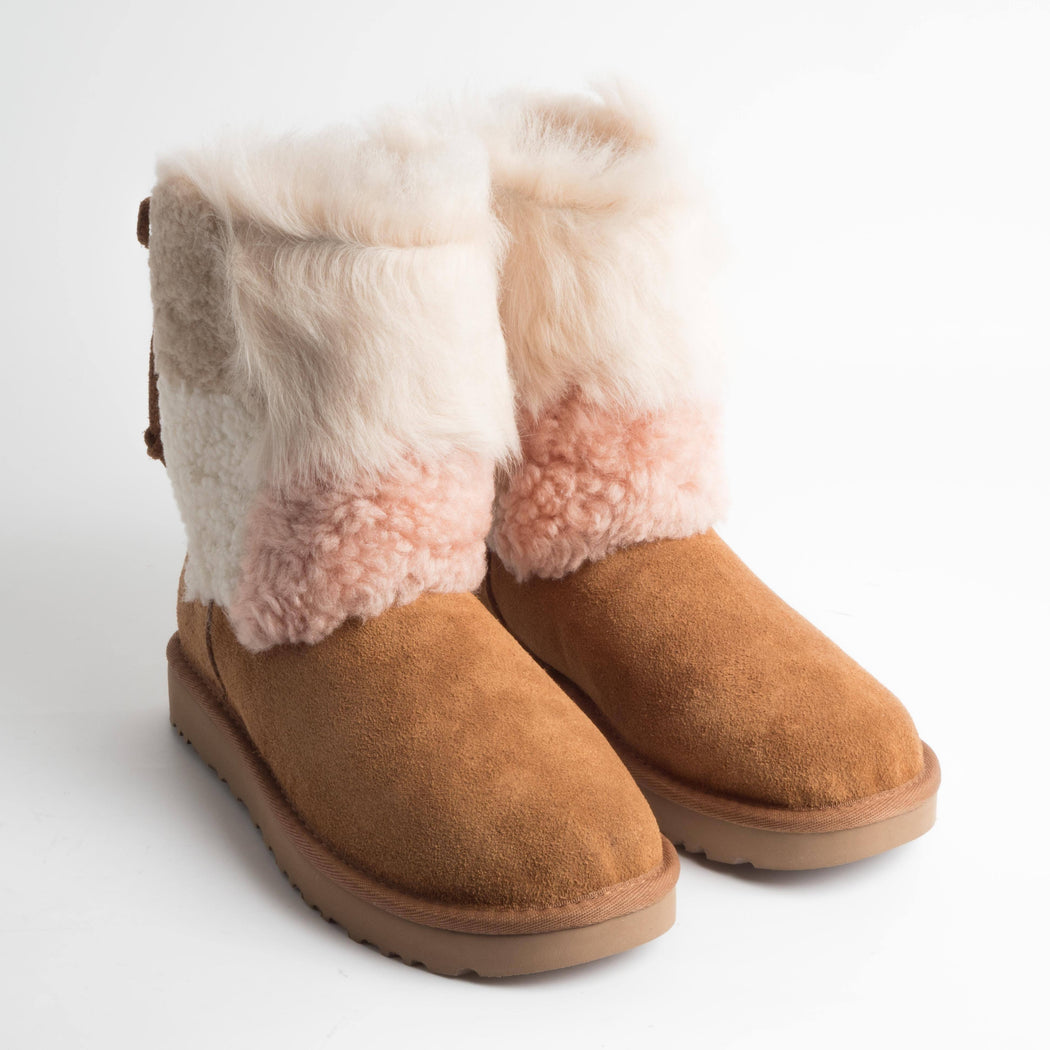 UGG - FW 2018/19 - Classic Short Patchwork Fluff - 1098071w - Chestnut Shoes Woman Ugg