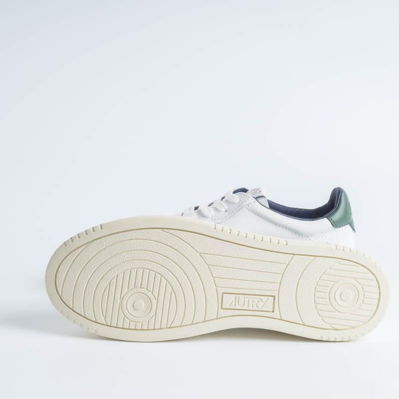 AUTRY LN21 - LOW MAN ALL LEAT - White / Dark Green Men's Shoes AUTRY - Men's collection