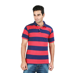 GAP Rugby Red And Blue Stripe Pique Polo Shirt (Label Removed)