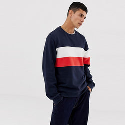 Jack & Jones Panel Stripe Navy Blue Sweatshirt 613