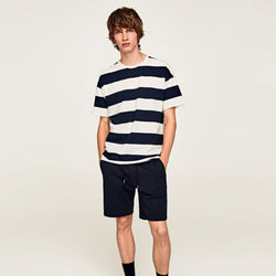 Zara Men Navy Blue Drawstring Shorts