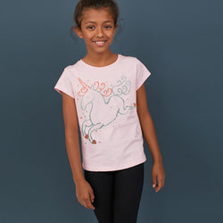 Hullabaloo Girls Glitter Unicorn Pink Tshirts
