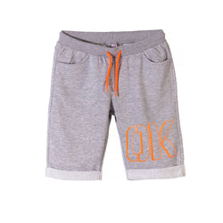 L&S Orange OK Print Grey Shorts 1718