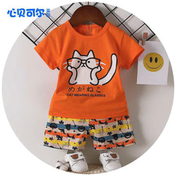 2 Piece set Cat Wearing Glasses Orange 1707