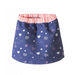 5.10.15 Heart and Cats Printed Navy Blue Skirt 1724