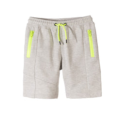 L&S Grey Shorts With Fluorescent Green Zips and Cord 1715