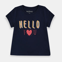 InExtenso Hello I Love U Navy Blue Top 1474