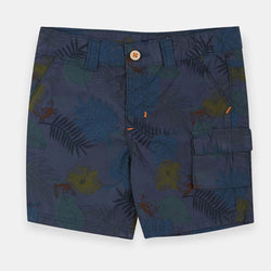 Original Marines Palm Leaves Blue Cotton Shorts 1396
