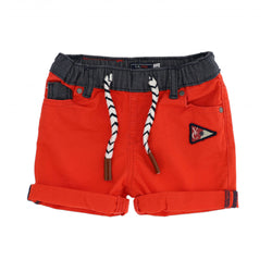 OM Zebra Cord Contrast Belt Rose Red Shorts 1694
