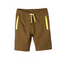L&S Khaki Shorts With Fluorescent Green Zips and Cord 1716