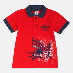 ilus Roivas Ocean Surf Shark Red Polo 2033