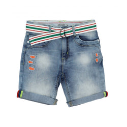 OM Orange Ribbed Patch Blue Shorts without Belt 1695