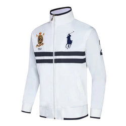 Ralph Lauren Jockey Club White With 2 Blue Stripe Wind Breaker #266