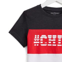 InExtenso Red and White Block CHILL Tshirt 1476