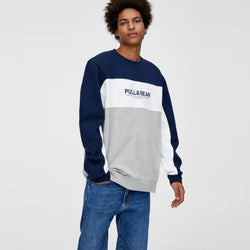 Pull And Bear Navy Blue With Color Block Sweatshirt 946